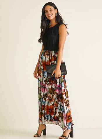 Monochrome & Floral Print Dress, Black,  day dress, jersey bodice, chiffon skirt, pleated, floral print, monochrome, sleeveless, spring summer 2020