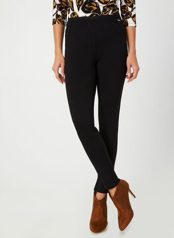 Pantalon coupe cité à détails surpiqués, Noir, hi-res,  pull-on, lace-up detail, fall 2019, summer 2019