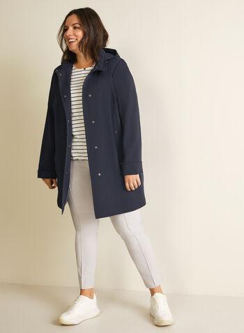 Manteau imperméable à capuchon, Bleu,  printemps été 2020, manteau, imperméable, capuchon, poches, hydrofuge, col montant, boutons-pression, cordons