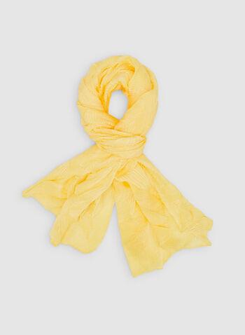 Foulard pashmina à effet plissé, Or, hi-res,  foulard léger, pashmina, uni, plissé, printemps 2019