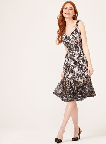 Sleeveless Princess Fit Flared Lace Dress, Black, hi-res
