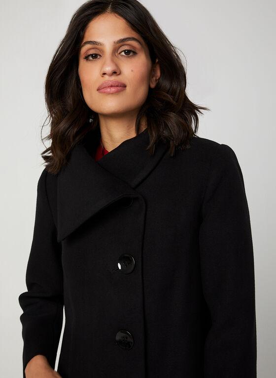 Oversized Collar Wool-Like Coat, Black