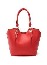 Faux Leather Buckle Trim Handbag, , hi-res