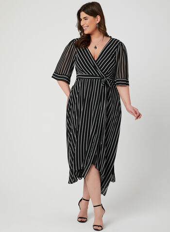 Stripe Print Faux Wrap Dress, Black, hi-res