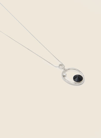 Open Oval Pendant Necklace, Black,  necklace, silver, resin, oval, open, pendant, fall winter 2020
