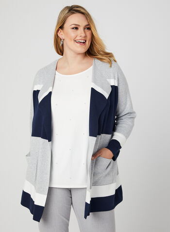 Colour Block Cardigan, Grey, hi-res