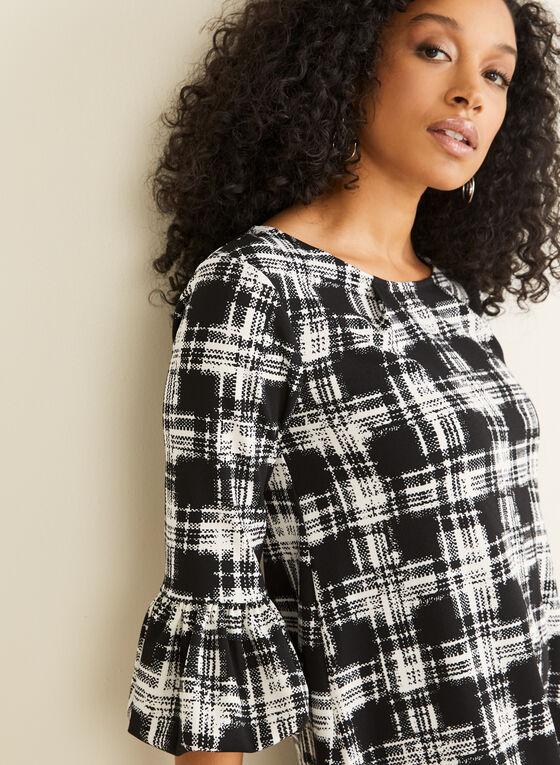 Nina Leonard - Bell Sleeve Plaid Print Dress, Black