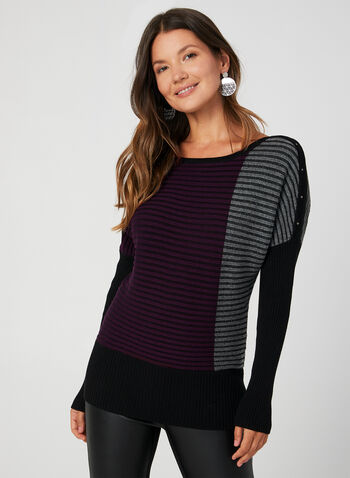 Colour Block Knit Top, Purple, hi-res,  fall 2019, winter 2019, ribbed, long sleeves, stretchy, colour block