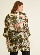 Tropical Print Open Front Tunic, Black