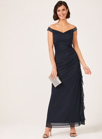 Off The Shoulder Cascading Dress, Blue, hi-res