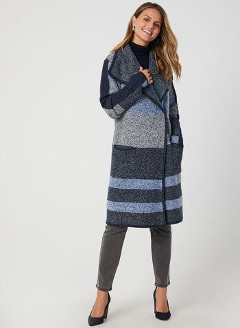 Colour Block Knit Cardigan, Blue, hi-res,  sweater, cardigan, plush knit