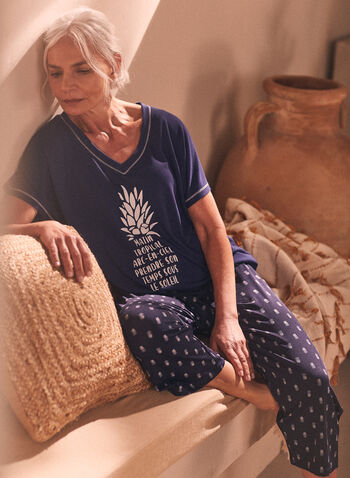 Top & Capris Pyjama Set, Blue,  Spring Summer 2021, pyjama, set, capris, pineapple, text, print, top, tropical, sleepwear, pajama