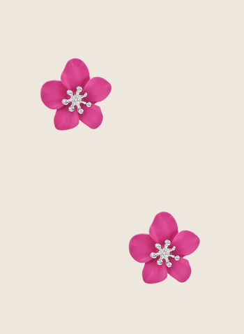 Flower Stud Earrings, Pink,  earrings, studs, flower, metallic, spring summer 2020