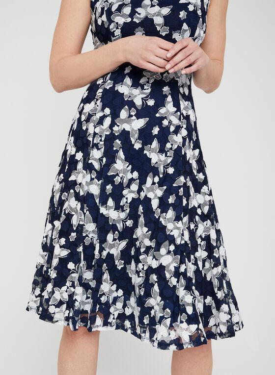 Embroidered Fit & Flare Dress, Blue, hi-res
