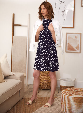 Polka Dot Print Dress, Blue,  spring summer 2021, dresses, made in canada, choker, round neck, no sleeves, dotted, spotted,