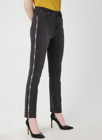 Animal Print Side Straight Leg Jeans , Grey,  jeans, denim, straight leg, modern jeans, animal print, fall 2019, winter 2019