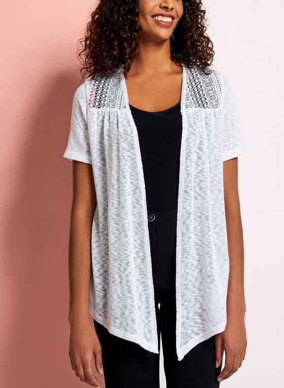 Crochet Slub Knit Cardigan, White, hi-res