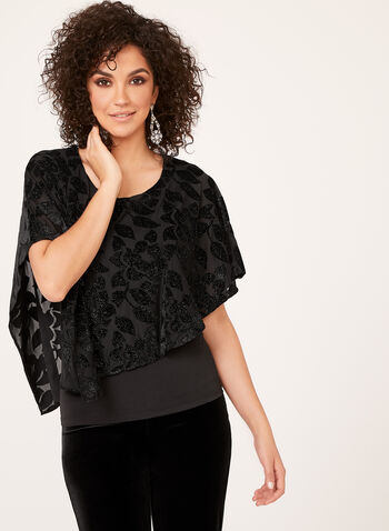 Asymmetric Metallic Velvet Poncho Blouse, Black, hi-res