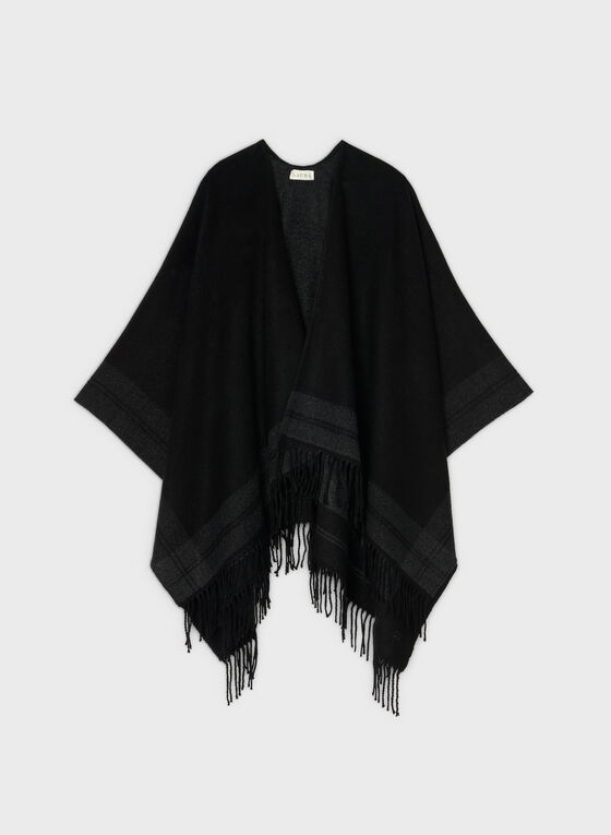 Fringed Poncho, Black