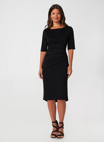 Elbow Sleeve Sheath Dress, Black,  fall winter 2019, sheath dress, ponte de roma, elbow sleeves, long sleeve