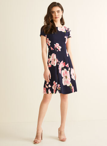 Floral Fit & Flare Dress, Blue,  spring summer 2020, day dress, fit & flare silhouette, short sleeves, floral print