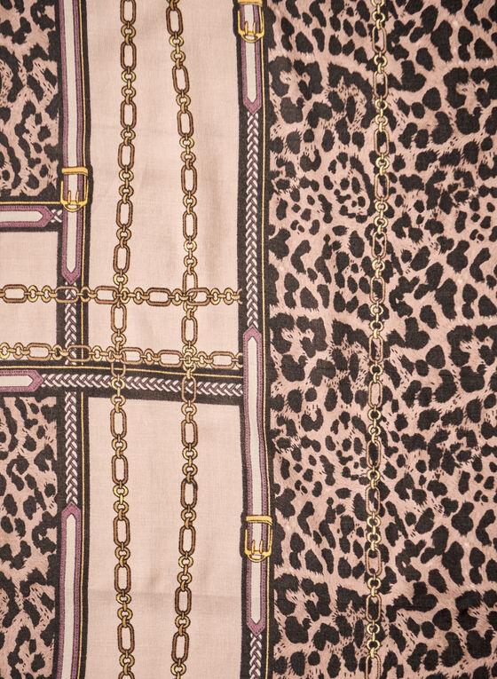 Animal & Chain Print Scarf, Black