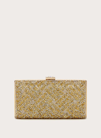 Rhinestone Embellished Clutch, Gold, hi-res