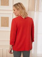 Crepe Gathered Sleeve Blazer, Red