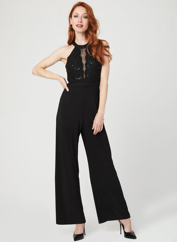 Glitter Lace Cleo Neck Jumpsuit, Black, hi-res