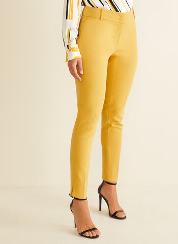 City Fit Straight Leg Pants , Yellow,  city fit, straight leg, belt loops, spring 2020