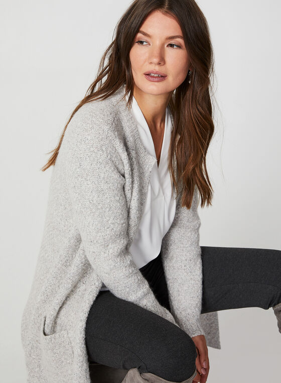 Knit Open Front Cardigan, Grey