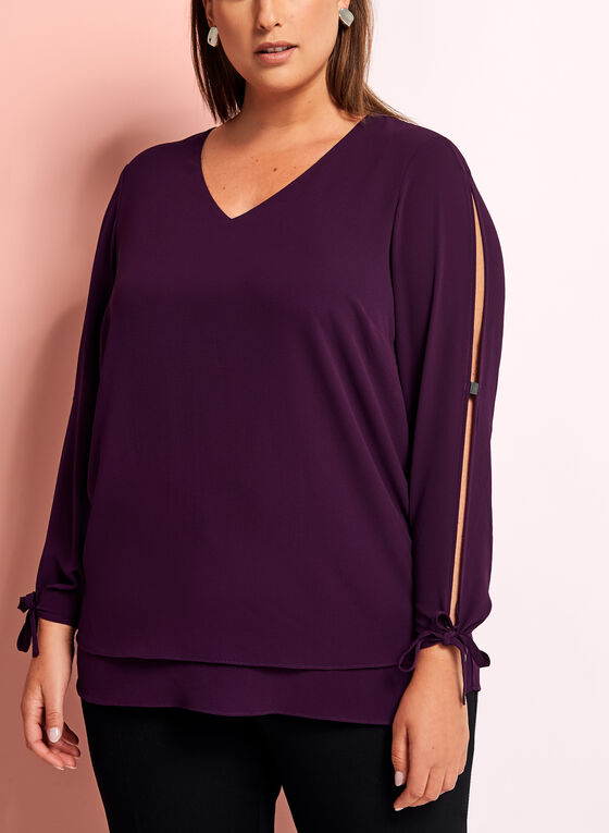 Long Sleeve Crepe Blouse, Purple, hi-res