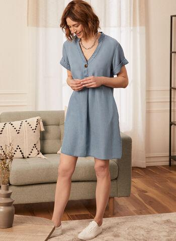 Button Front Detail Dress, Blue,  spring summer 2021, dress, v-neck, v neck, folded sleeves, pockets, single-button front closure, belted, knot detail
