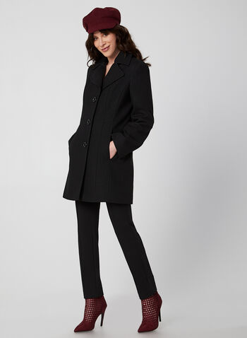 Anne Klein - Mid-Length Wool Coat, Black,  coat, mid-length, notched collar, button closure, wool blend, lined, long sleeves, Anne Klein, fall 2019, winter 2019