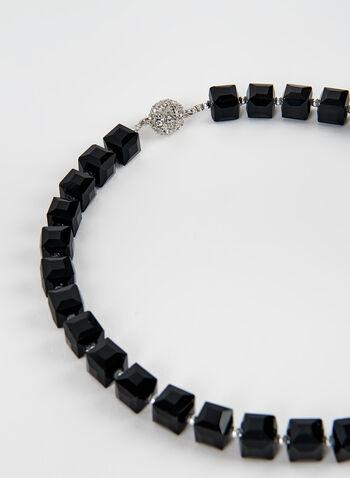 Collier ras-de-cou à perles et cubes, Noir, hi-res