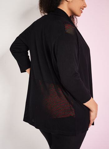3/4 Sleeve Pointelle Cardigan, , hi-res