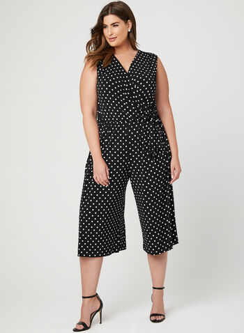 Dot Print Gaucho Jumpsuit, Black, hi-res