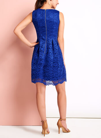 Sleeveless Pleated Floral Lace Dress, , hi-res