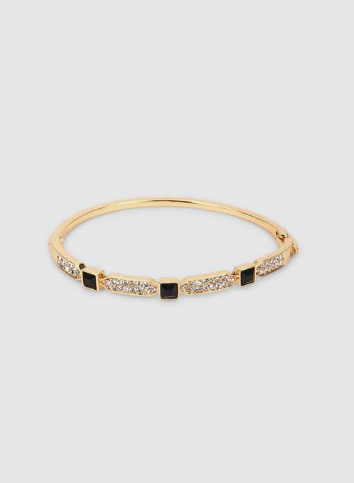 Bracelet à pierres carrées et cristaux, Noir, hi-res
