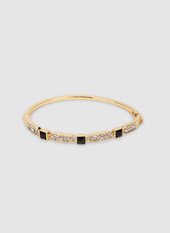 Bracelet à pierres carrées et cristaux, Noir