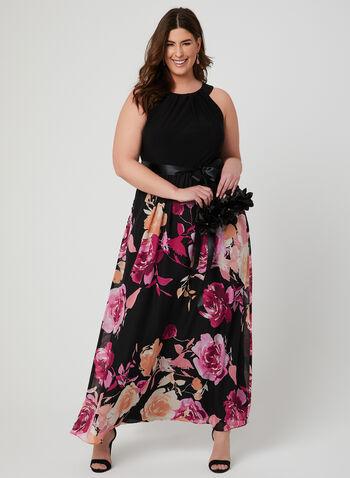Floral Print Chiffon Dress, Black, hi-res,  jersey, chiffon, cleo neck, spring 2019