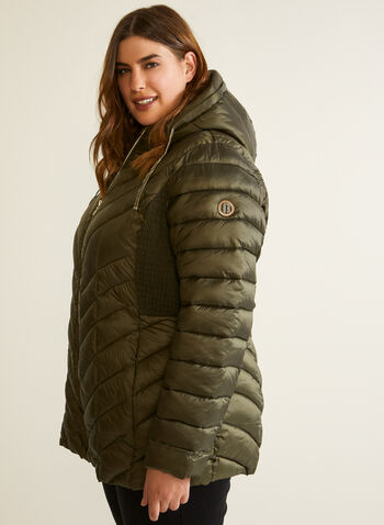 Bernardo - EcoPlume™ Quilted Coat, Green,  coat, quilted, chevron, vegan, down, hood, ecoplume, fall winter 2020
