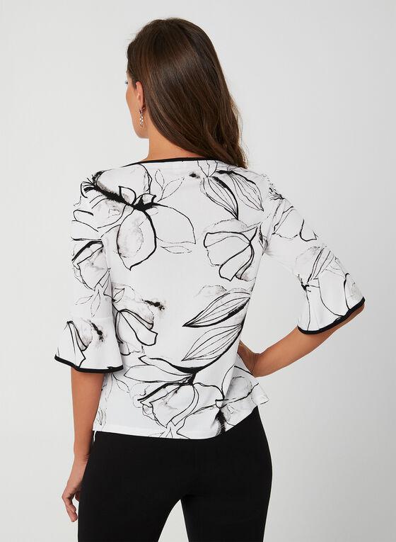 Haut floral à détails volantés, Blanc, hi-res