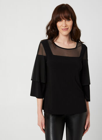 Jersey Mesh Top, Black, hi-res,  Canada, top, mesh, jersey, 3/4 sleeves, fall 2019, winter 2019