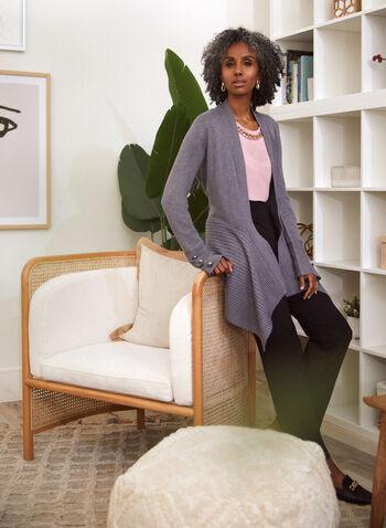 Cardigan en tricot à ourlet asymétrique, Gris,  haut, cardigan ouvert, manches longues, boutons décoratifs, tricot côtelé, ourlet asymétrique, tricot doux, automne 2021