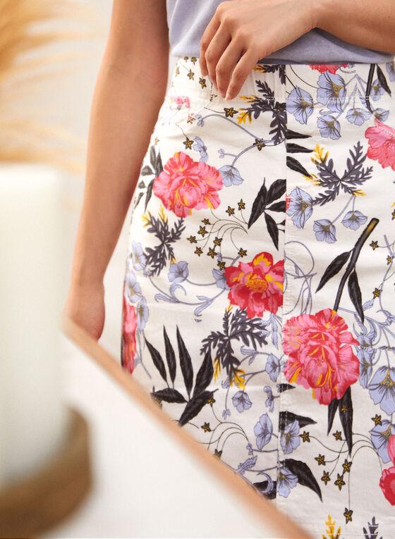 Charlie B - Jupe crayon à motif floral, Blanc