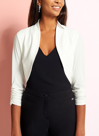 3/4 Sleeve Shirred Bolero, Off White, hi-res