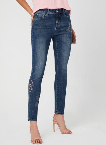 Embroidered Modern Fit Jeans, Blue, hi-res