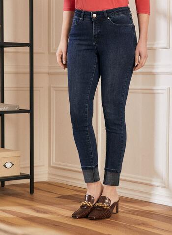 Jeans à jambe étroite et ourlet retroussé , Bleu,  jeans, jambe étroite, ourlet retroussé, prince-de-galles, denim, printemps été 2020