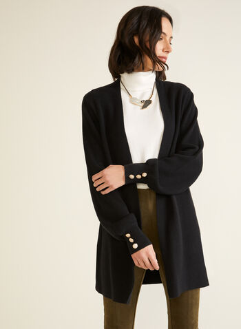 Long Sleeve Open Cardigan, Black,  fall winter 2020, cardigan, sweater, open front, button detail, long sleeve, balloon sleeve, detailing, soft, comfort, stretch, tunic